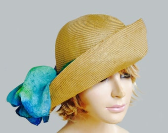 Gabby, Cloche flapper hat, womens parasisal straw millinery hat with silk scarf
