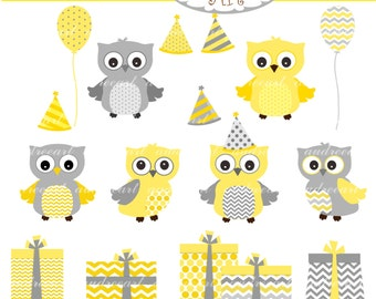 Owls clip art,cute owls party,yellow grey owl,gift box clip art,baby owls,yellow and gray,gift box,party hat,invites cards,instant download