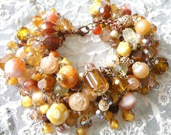 fall bracelet assemblage upcycle caramel bead vintage jewelry large wrist