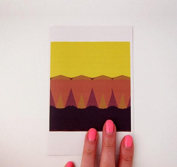 Geometric Sunset Print Greeting Card