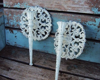 Vintage Shabby Chic Candelabra Wall Sconce Set Candle Holder Shell Repurposed Distressed Chippy