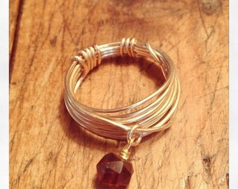 Gold Wire Wrapped Ring with Garnet, Clean and Simple, or gold lightning bolt charm