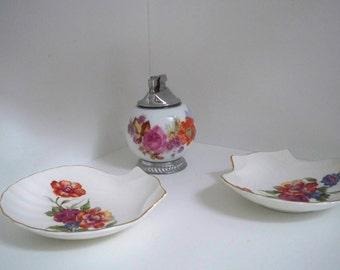 Vintage Collectible Tobacciana China Lighter and Ashtray Set 1960 Decor Floral China