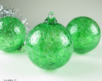 Blown Glass Christmas Ornament Suncatcher Emerald Green Ice Bulb Ornament