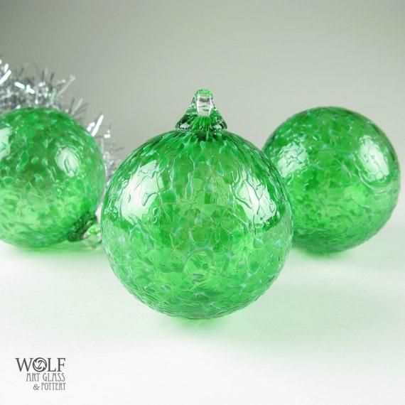 Blown Glass Christmas Ornament Suncatcher Emerald Green Ice Bulb Ornament
