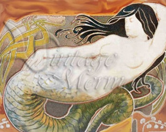 Vintage Art Nouveau MERMAID PRINT Fabric Panel Block for Quilting anm02.