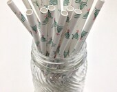 25 Christmas Tree Red Star Paper Straws - Perfect for Parties - Favors--Free Editable DIY Tags PDF