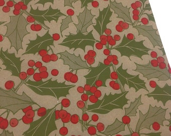 Set of 25 - Brown Kraft - Red and Green Holly - Holiday Paper Merchandise Bags - 8.5 x 11 Inches