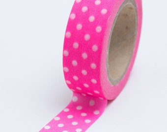 Washi Tape - 15mm - Dots on Neon Pink - Deco Paper Tape No. 670