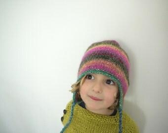Silky Rainbow Hat - multicolour - seamless  - earflaps