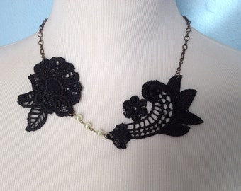 Black lace and Pearl Necklace