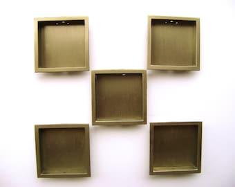 Vintage Japanese Door Pulls - Japanese Door Pulls - Sliding Door Pulls - Stainless Square 5P C33