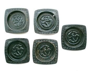 Japanese Door Pulls Sliding Door Pulls - Vintage Door Pulls - Pocket Door Pulls - Dragon Black (G17) Set of 5