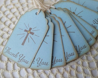 Shining Cross Religious Thank You Tags Vintage Inspired Set of 25