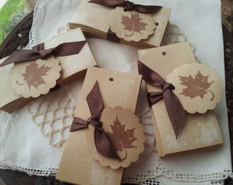 Coffee Stained Blank Tags Set of 100 Rectangle