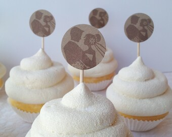 Bride and Groom Wedding Mini Cupcake Toppers Food Picks Kraft Paper Rustic Set of 25
