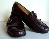 Vintage 1980's Oxblood Buckle Fringe Loafers // Leather Dress Shoes // Red Brown Shoes // Monk Strap // Size 8.5M