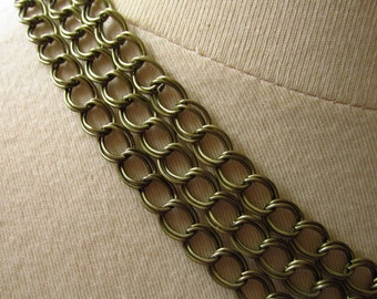 Antiqued Oxidized Brass Plated Double Link Curb Chain 8mm by 6mm 20 Feet (6 meters)