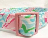 Lilly Pulitzer Fabric Dog Collar Boy Blue Lobstah Roll Girl Pink