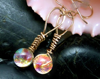 Dichroic Glass Earrings Translucent Warm Cha-Cha Golden Orange, Pink, Green, Blue