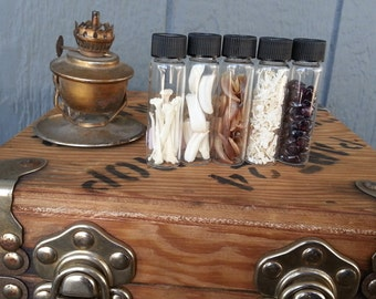 Collection of Vials Filled with Bones, Teeth and More- Lot No. 0909-D