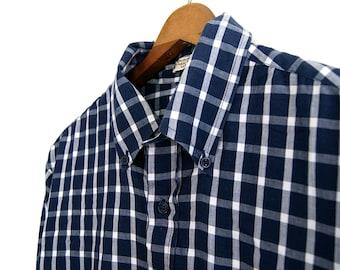 Men's Blue Plaid Shirt // Cotton // Med // Vintage