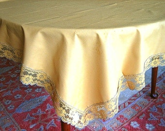 LACE Trimmed TABLECLOTH Cream Pumpkin Tone NEW Solid Heavy Cotton Rose Lace Hems