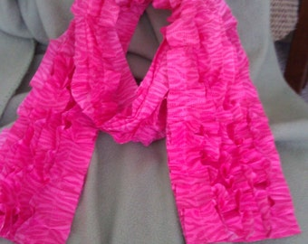 CLEARANCE Hot Pink Ruffle Scarf