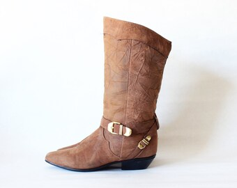 Vintage Buckle Strap Brown Leather Boots, size 7