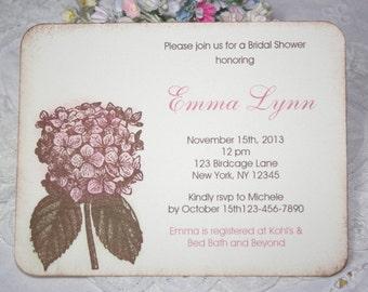 Pink Hydrangea Bridal Shower Invitations - Bridal Shower - Engagement - Birthday - Baby - Christening - Set of 10