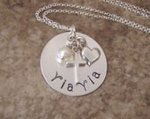 Yia Yia necklace - Grandmother necklace - Godmother necklace - Name necklace - Sterling silver Personalized necklace -Godmother necklace
