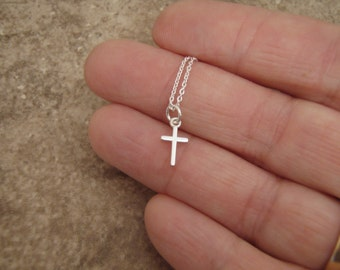 Tiny silver Cross jewelry - Simple Sterling silver cross necklace - Girl's cross necklace - Dainty cross necklace