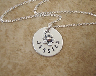 """Tiny Flower girl necklace -  Little girl's name necklace - Tiny name charm - Dainty 1/2"""" Sterling Silver charm - Photo NOT actual size"""