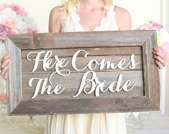 Here Comes The Bride Wedding Sign Rustic Barn Wood NEW 2014 Design by Morgann Hill Designs