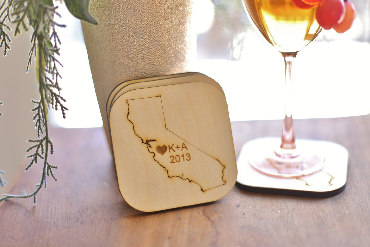 Personalized Coasters Wedding Gift: Personalized Coasters Wedding Favors Rustic Chic By