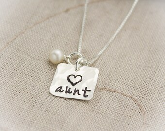 I Love my AUNT Charm Necklace Sterling Silver  Personalized with Birthstone Hand Stamped Jewelry