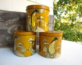 Vintage Boho Chic Aubrey Beardsley Cheinco Tin Psychedelic Woman Golden Yellow