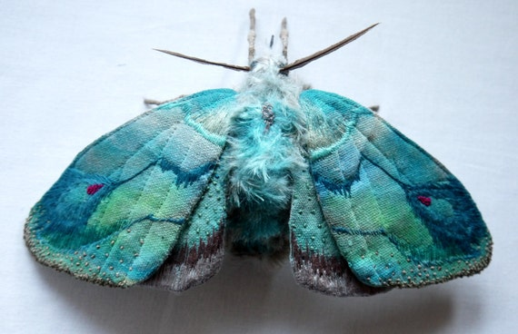 Fabric sculpture - Large Turquoise Moth textile art