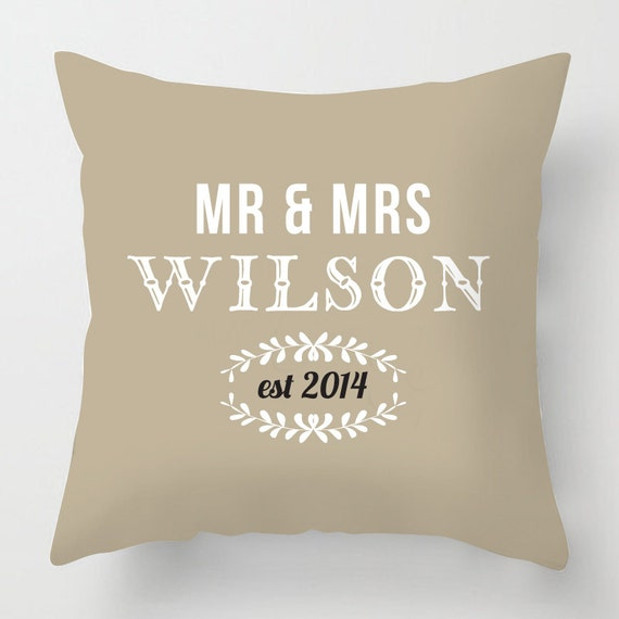 Personalised Mr Amp Mrs Wedding Gift Throw Cushion By Artylicious