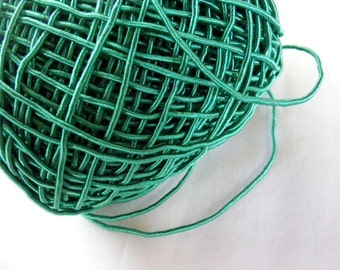 Vintage 1940's Silk Necklace Cord Cording 1/16 Inch Shimmery Emerald Green
