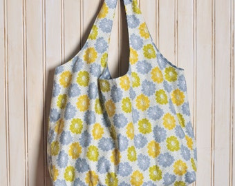 Tote Bag Large Cotton - Mustard and Gray Floral