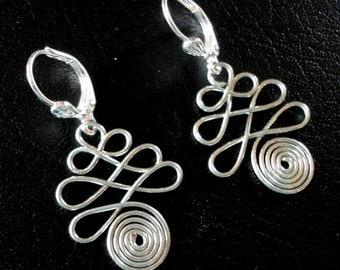 Silver Wire Art Pierced Earrings