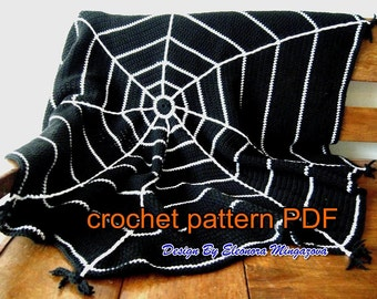 PDF Crochet Pattern to make your own Halloween Spider Web Crochet blanket, afghan, throw