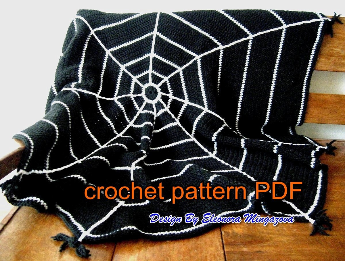 Pdf crochet pattern to make your own halloween spider web crochet pdf crochet pattern to make your own halloween spider web crochet blanket afghan throw bankloansurffo Images