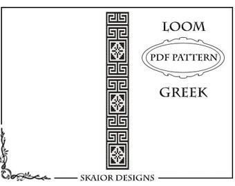 Loom Beading Pattern Loom Bracelet Geometric Seed Beads Wave Pattern Tribal Black White Square Stitch Pattern Bead Weaving Greek Loom Bead
