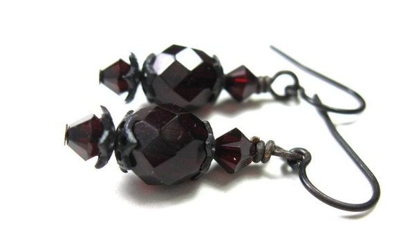 Vintage Style Dangle Earrings, Czech Glass, Garnet Swarovski Crystals, Dark Antiqued Brass, Oxblood, Womens Accessories, Goth, Burgundy, Red
