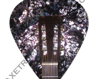 Axetreme Guitar Pick Wall Hanger - String Swing Hanger Included - Iridescent Faux Black Abalone - Music Room Guitar Room Made in the USA