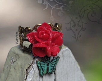 Rose Ring with a Teal Butterfly Charm. Star Flower Bouquet Charm Ring. Red Posey Brass Filigree Ring.