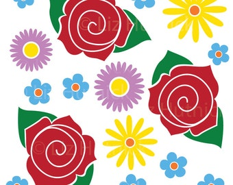 Flower Wall Art Stickers, Floral Home Decor, Office Wall Decals, Daisies Roses and Forget-Me-Nots