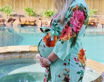 Maternity Hospital Gown Delivery Crossover Kimono Robe Mint Perfect as labor delivery gown, nursing mothers, to be moms, Pregnancy Photoprop